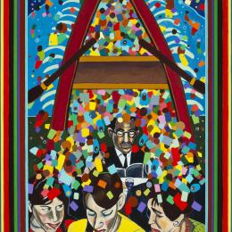 Desperate Crossing Series: Family Seder      Acrylic on Canvas   31inx 44in
