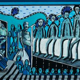 Desperate Crossing: Rolling Luggage Acrylic on Canvas     17inx14in