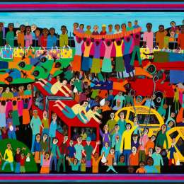 Desperate Crossing: Cars, Boats and Buses      Acrylic on Canvas     54inx31in