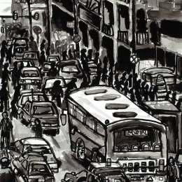 """Baghdad Street     Ink on Paper       18""""x24"""""""