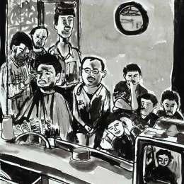 """Barber Shop     Ink on Paper     18""""x24"""""""