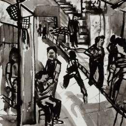 """East Jerusalem     Ink on Paper     18""""x24"""""""