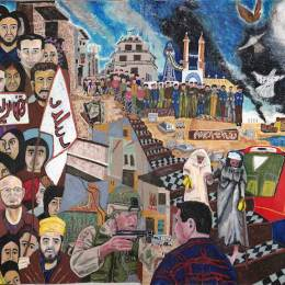 "Mural #1 Doves     Oil Paintstick on Paper   98""x204"""