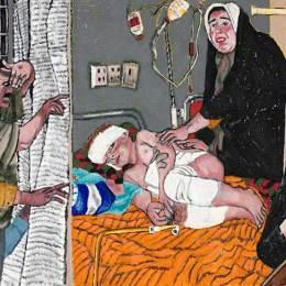 "Mural #3 Hospital     Oil Paintstick on Paper 48""x144"""