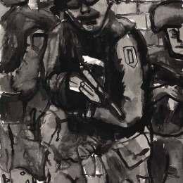 "Soldier with Gun      Ink on Paper 18""x24"""
