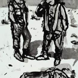 """Soldiers WIth Dead Body     Ink on Paper 18"""" x 24"""""""