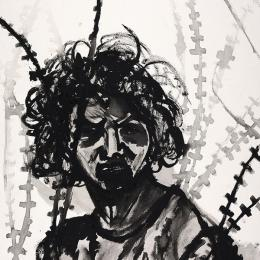 """Girl Behind WIre  Ink on Paper Ink on Paper 24"""" x 36"""""""