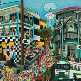 "The Great Migration from El Salvador to Santa Cruz Series-Marchers           Acrylic on Canvas     30"" x 24"""