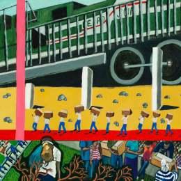 """The Great Migration from El Salvador to Santa Cruz Series-El Tren del Sur Acrylic on Canvas     30""""x 24"""""""