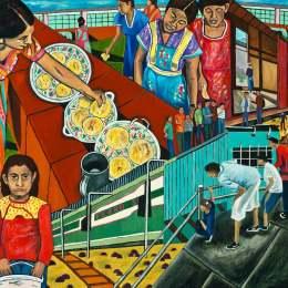"""The Great Migration from El Salvador to Santa Cruz Series-Tortillas Acrylic on Canvas     36"""" x 46"""""""