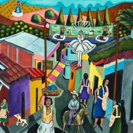 """The Great Migration from El Salvador to Santa Cruz Series- Village Life           Acrylic on Canvas     30""""x 24"""""""