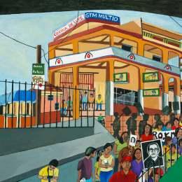 """The Great Migration from El Salvador to Santa Cruz Series- El Banco           Acrylic on Canvas   30""""x24"""""""