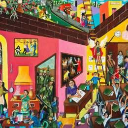 "The Great Migration from El Salvador to Santa Cruz Series- The Classroom           Acrylic on Canvas   30""x 24"""