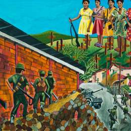 """The Great Migration from El Salvador to Santa Cruz Series- Girl In Rubble           Acrylic on  Canvas     30""""x 24"""""""