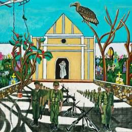 "The Great Migration from El Salvador to Santa Cruz Series- Vulture           Acrylic on Canvas   30""x 24"""