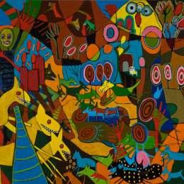 "Animal Party     Acrylic on Canvas     50""x 56"""
