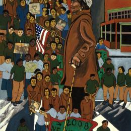 Voting Series  Marchers Collage and Gouache on Wood   24x38