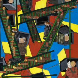Voting Series   Stairs and Booths Collage and Gouache on Wood   32x48