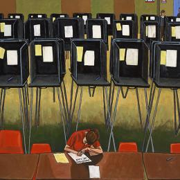 Voting Series   Voting Machines Gouache on Wood   22x32