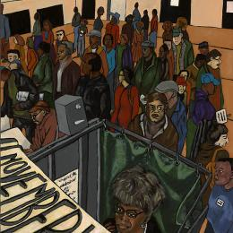 Voting Series   Women in Booth Gouache on Wood   29x23