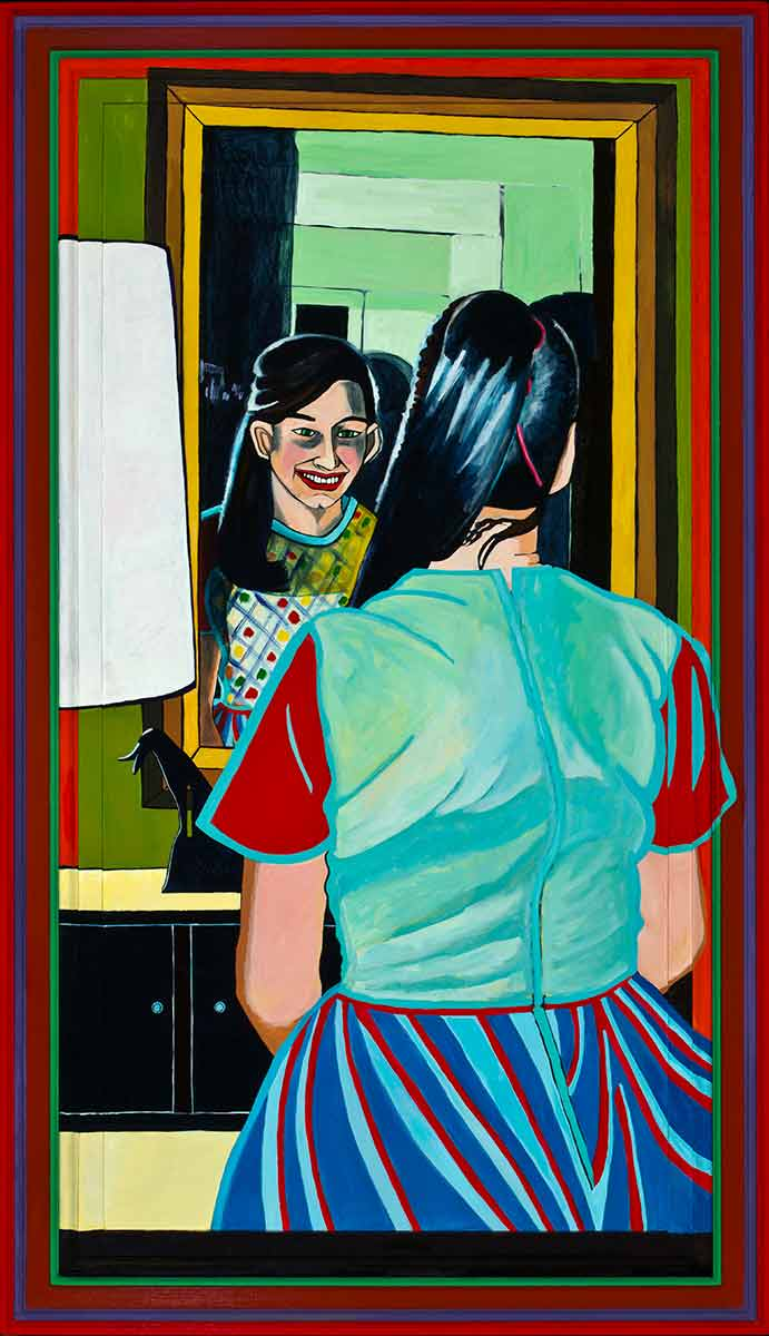 Family Portrait: Sister Looking in Mirror