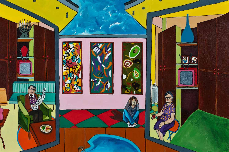Mulholland Drive: Three Paintings in Hallway